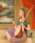 Image of Meerabai with musical instrument.
